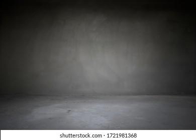 Soft Light On Gray Concrete Room, Empty Loft Style Living Room