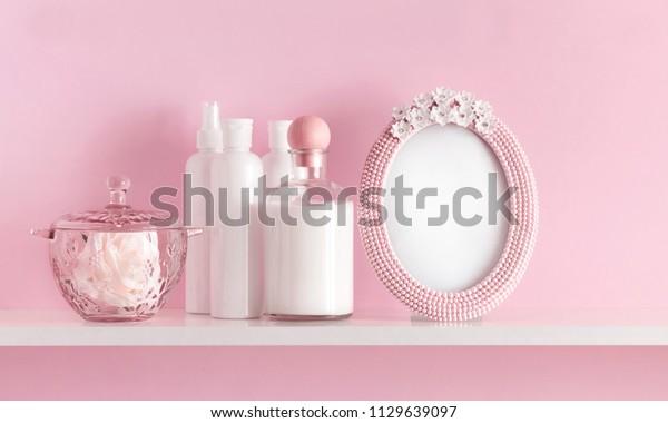 Soft Light Pink Bathroom Decor Advertising Stock Photo Edit Now 1129639097