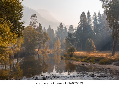 Soft light in Yosemite Valley on a beautiful autumn morning