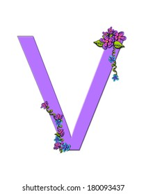 "The soft, lilac letter V, in the alphabet set ""Burst of Spring Lilac"" is decorated with bouquets of 3D flowers, with dots in white and black and vines of green."