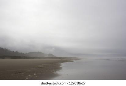 Soft misty Oregon coast on a stormy winter day