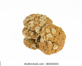 Soft oatmeal cookies on a white background.
