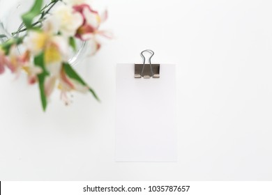 Soft pastel florals with notecard.