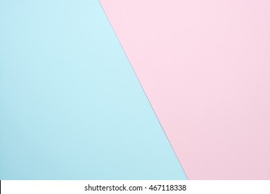 soft pink and light blue pastel colored paper background, minimal concept. Flat lay design background for mock up.