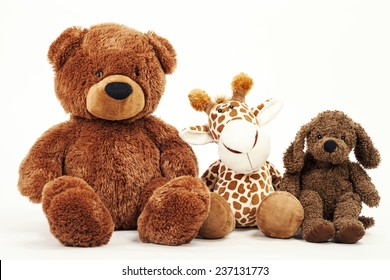 Soft plush toy animals isolated on white background
