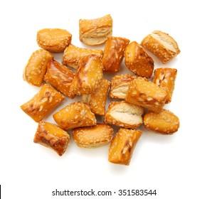Soft Pretzels Nuggets on white background