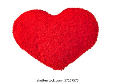 Soft red heart pillow on white background