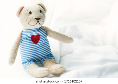 Soft and selective focus toy teddy  wearing a blue striped dress on white bed