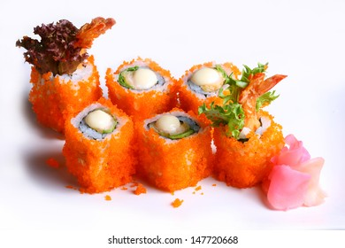 Soft Shell Crab MAKI : Soft Shell Crab , Asparagus, Cucumber and Ebiko Rolled by DriedSeaweed with Spicy Mayonaise.