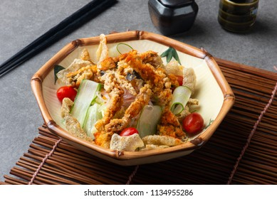 soft shell crab salad with salmon skin