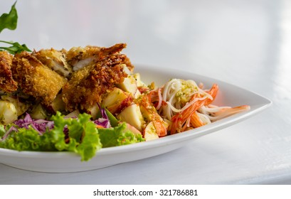 soft shell crab with spice apple salad