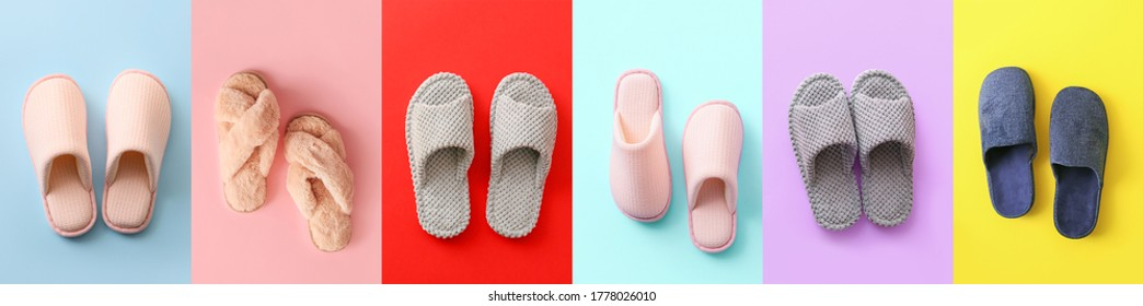 Soft slippers on color background