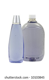 Soft Soap and Herbal Shampoo IN Bottles; isolated, two clipping paths included