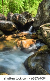 The soft stream is flowing through the rocks,The behind is fresh green forest on clear day and very strong sunshine.