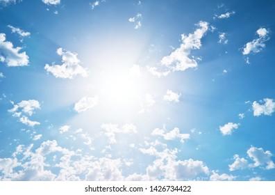 Soft sun light. Sunshine from cloudy sky at day.
