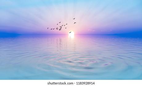 soft sunrise in the sea