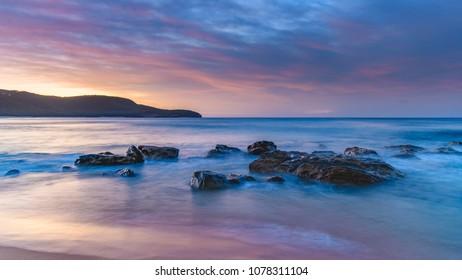 Soft Sunrise Seascape - Capturing the sunrise from Killcare Beach on the Central Coast, NSW, Australia.