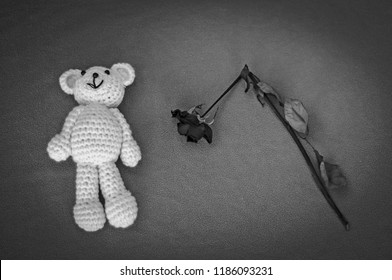 A soft teddy bear, toy for a newborn baby with a dry broken rose, isolated on a gray background. Sudden infant death syndrome stock image. Child death, abuse, harassment, rape, abortion, abort concept