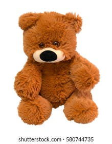 Soft toy brown bear, isolated on white background.