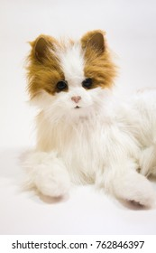 Soft toy cat on a white background