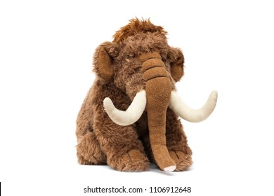 Soft toy cute brown elephant on a white background, isolate