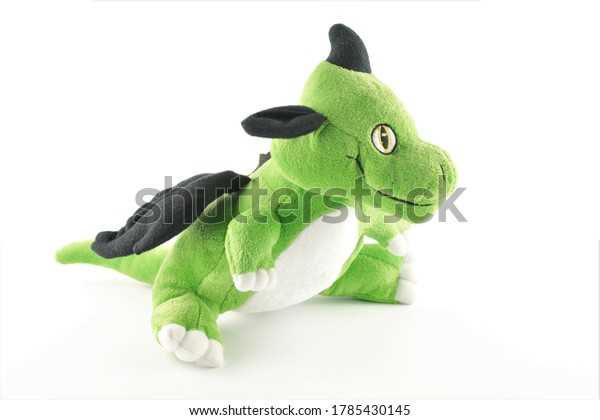 soft toy dragon isolated on white background.