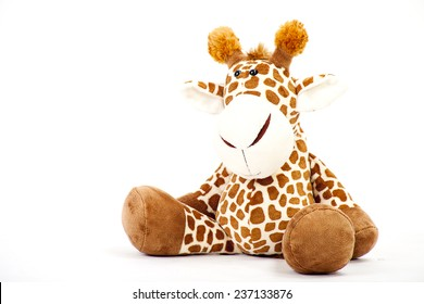 Soft toy Giraffe. Isolated on a white background.