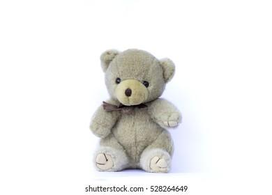 soft toy teddy bear on white background.