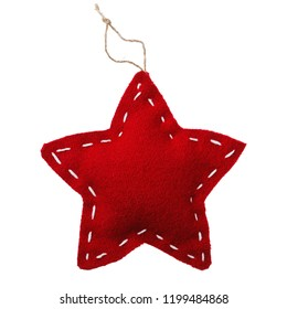 Soft toy of textile in shape of star. Christmas decoration isolated on white background