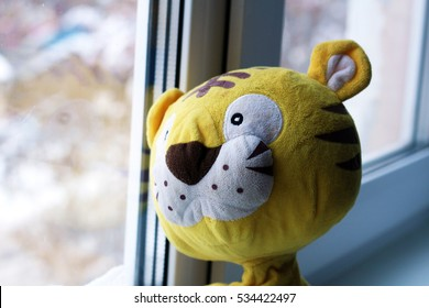 soft toy in the window, tiger