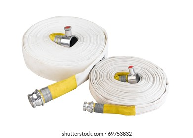 Soft tube hoses for connecting to hydrant in case of fire isolated on white