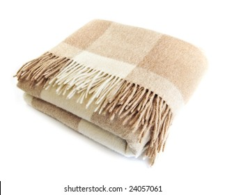 Soft and warm folded alpaca wool blanket with fringe