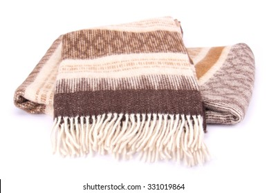 Soft and warm folded wool plaid with fringe