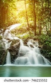 soft water of the stream in the natural park, Beautiful waterfall in rain forest ( Maekampong Waterfall, Thailand)