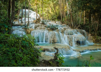 soft water of the stream in the natural park, Beautiful waterfall in rain forest ( Maekae Waterfall, Thailand)