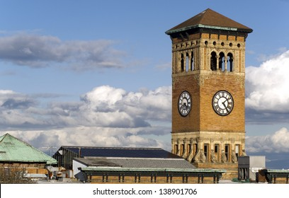 Soft white clouds surround the old City Hall Building in Tacoma Washington, United States