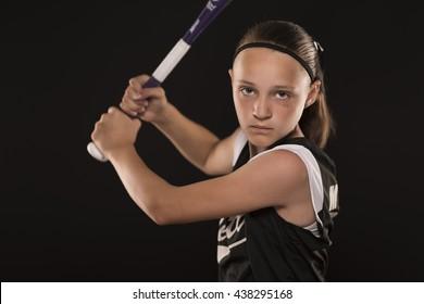 Softball Girl with Bat