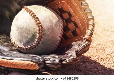 Softball and glove.