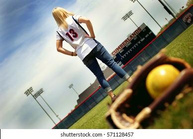 Softball Player and Glove