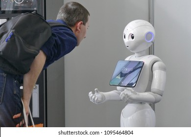 Softbank Pepper robot provide assistance to customers in automation fair Turin Italy April 18 2018