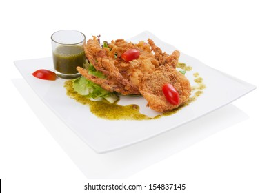 soft-shell crab salad isolated on white.