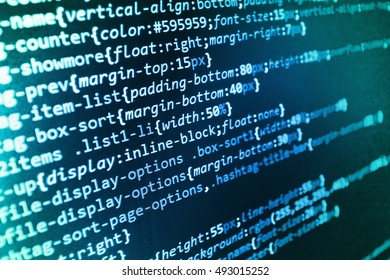 Software abstract background. Programmer developer screen. Computer script typing work.  PC software creation business. IT coding on monitor screen. Programming code typing.