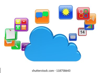 Software apps icons around a cloud computing. 3d rendered image