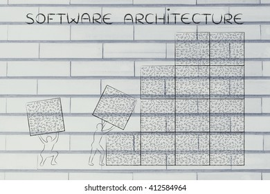 software architecture: men lifting blocks with messy binary code, metaphor illustration