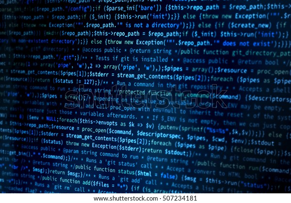 Software background. Website codes on computer monitor. Software development. Programmer developer screen. Machine learning code. Java code. Php code. Linux code.