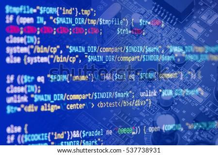 Software Computer Programming Code Circuit Board Stock Photo (Edit ...