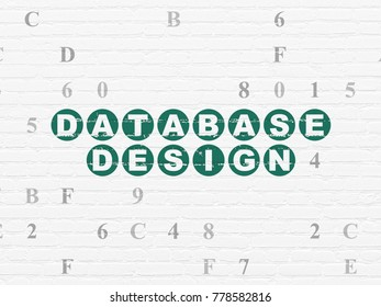 Software concept: Painted green text Database Design on White Brick wall background with Hexadecimal Code