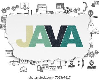 Software concept: Painted multicolor text Java on Torn Paper background with  Hand Drawn Programming Icons