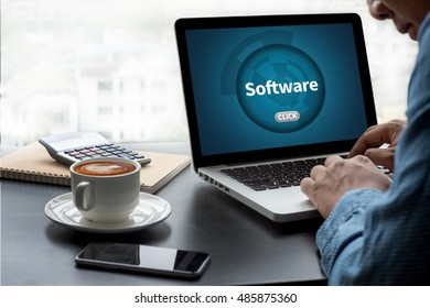Software Data Digital Programs System Technology computer Thoughtful male person looking to the digital tablet screen, laptop screen,Silhouette and filter sun