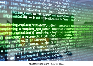 Software developer programming code. Abstract computer script code. Programming code screen of software developer. Software Programming Work Time.